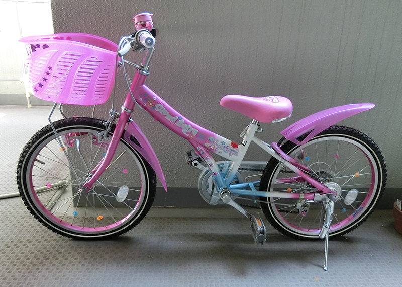【姉から】自転車をおさがり。女児用自転車を男児用にカスタム!【弟へ】